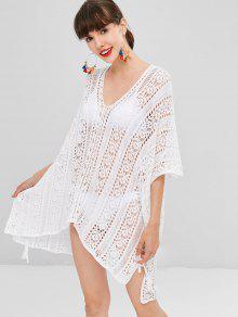 أجوف من الكروشيه فستان ارتفاع منخفض - أبيض