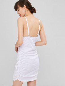 Blanco S Fruncido Vestido Vestido Acampanado Acampanado zT8XwnxI