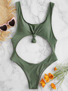 قطع ملابس السباحة عالية الساق معقود - التمويه الأخضر L