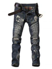 جينز بضربات باهتة - الدينيم الأزرق الداكن 38