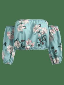 Hombro Estampado Top Corto Con S Azul Coral Fuera Floral Del xxYOw1