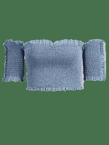 Denim Shoulder Claro The Smoked Top Off M Azul Crop Ht6Zwqa