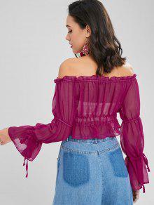 Los Hombros Con Rojo Blusa Mediana Transparente Violeta Volados En xABwwZqXI