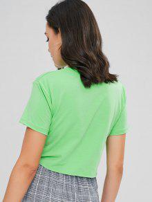 De Estampado Manzana Letras Camiseta Verde De Con Tirantes 8q1xRUIP