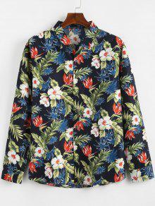 قميص النباتات الاستوائية المطبوعة عادية - البحريه الزرقاء 2xl