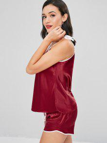 dafb5d23a37804 27% OFF] 2019 Satin Tie Shoulder Pajama Set In RED WINE | ZAFUL