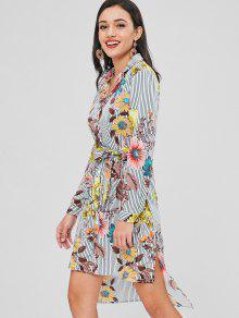 ارتفاع منخفض خطوط فستان قميص الأزهار - متعدد M