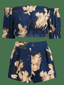 Oscuro Dos De S Floral Piezas Conjunto Shoulder De Off Azul The Pizarra BwffUqC