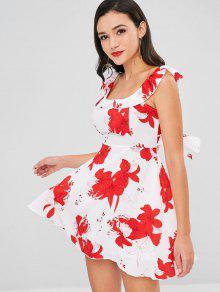 Blanco Espalda Xl Y Volantes Con Florales Vestido Abierta YqZPUP