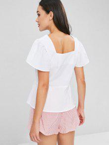 d348494031770a 23% OFF] 2019 Ruffle Sleeve Button Up Blouse In WHITE | ZAFUL