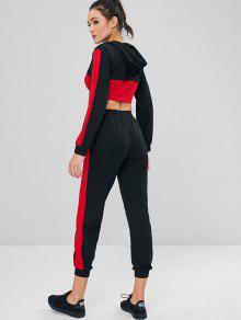 En Capucha Contraste S 243;n Y De Negro Textura Pantal Con Pantalones Conjunto Con tORBqzwv