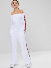 Off Shoulder Side Stripes Pants Set