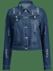 Denim Jacket Oscuro Denim Azul De Pockets S Ripped Faux t7wOxq0ngX