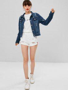 Azul Denim Denim Jacket De Oscuro S Pockets Ripped Faux fa4qI6A6