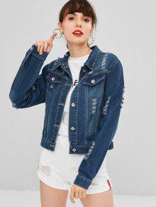 Faux Pockets Ripped Denim Jacket - Azul Oscuro De Denim S