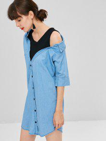 L Blue Denim De De Camisa Cambray De Vestido Dos Falsa Piezas 4wRvzqdq
