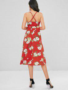 1e1536bcad 66% OFF  2019 Floral Cross Strap Flowy Dress In RED XL