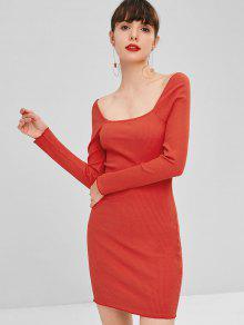 فستان بياقة مربعة - أحمر M