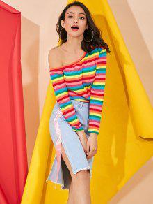 Hombros Colores Rayas Descubiertos S Con Top Y De Multicolor 5pY7wxq