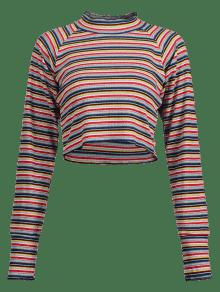 Larga Camiseta A Con Manga L De Multi Cuello De Pico Rayas EEwqTFWAg