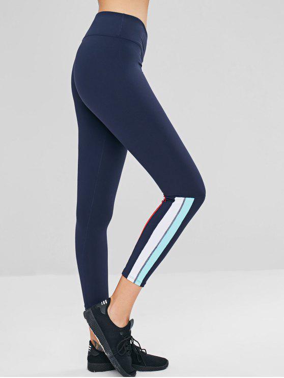 chic Stripes Panel Ninth Sports Leggings - DARK SLATE BLUE L
