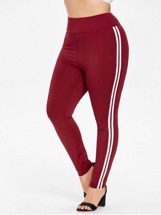 lady Plus Size High Waisted Striped Side Leggings - RED WINE 1X