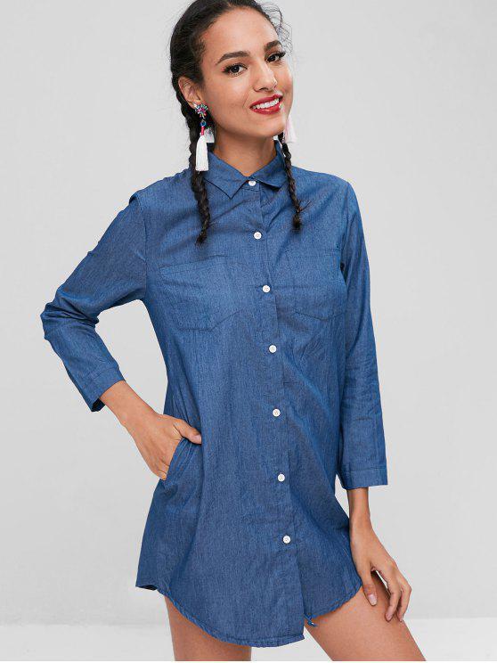 chic Button Up Pockets Shirt Dress - STEEL BLUE L