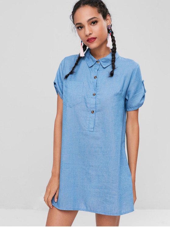 Half Knopf Taschen Kleid - Denim Blau M