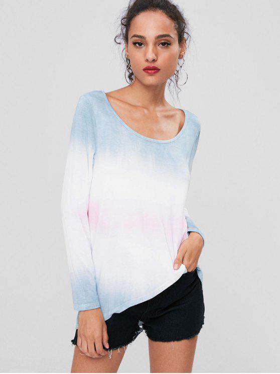 Ombre Asymmetrisches T-Shirt - Multi L