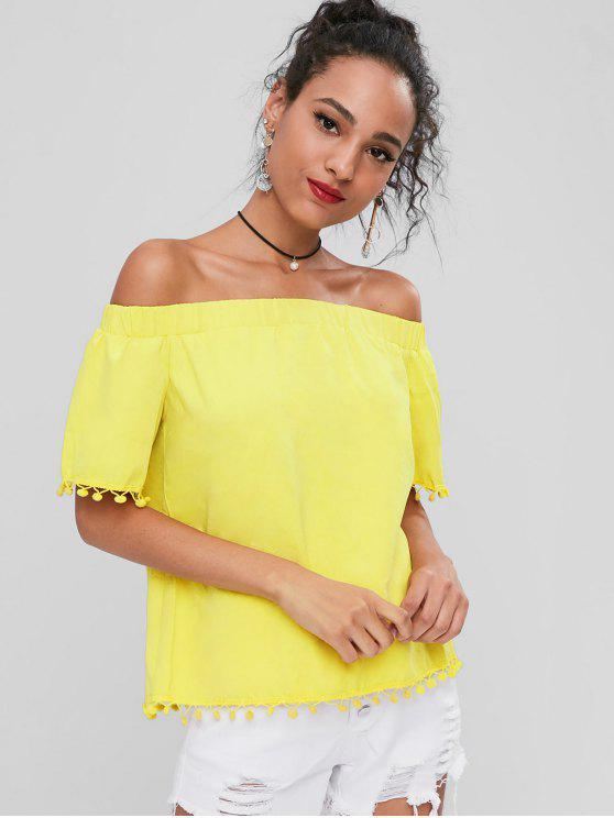 Schulterfreie Pompoms Bluse - Gelb S