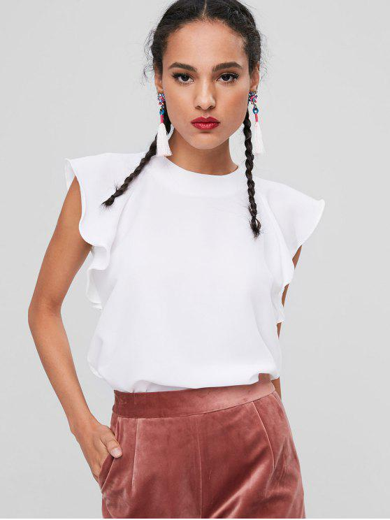 Blusa sin mangas con volantes - Blanco S