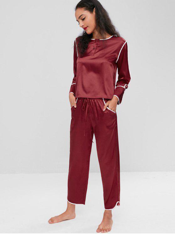 Ensemble Pyjama en Satin à Manches Longues - Rouge Vineux 2XL