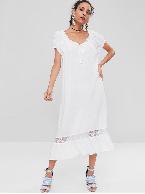 affordable Short Sleeve Midi Nightgown Dress - WHITE S
