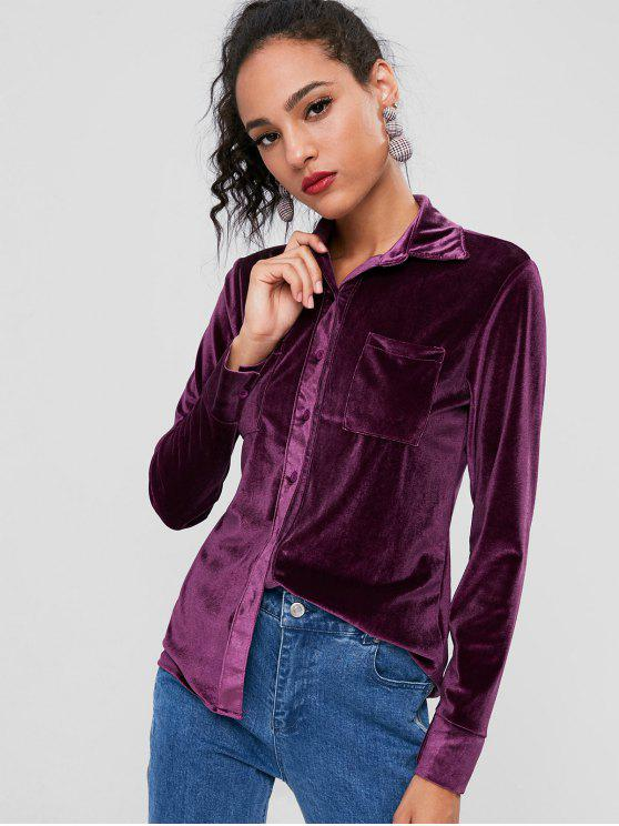 fancy Velvet Casual Pocket Shirt - EGGPLANT XL