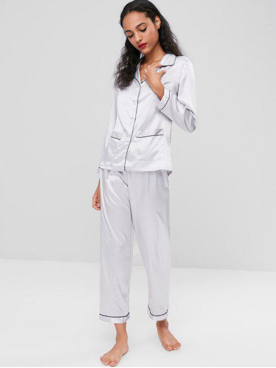 Satin Sleep Shirt And Pants Set   Light Gray Xl by Zaful