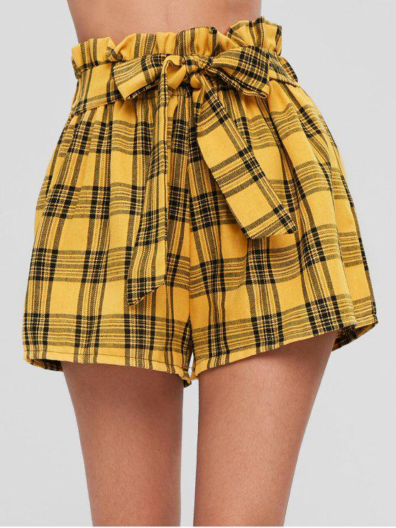 Pantaloncini A Quadretti Con Nodo Frontale - Senape XL