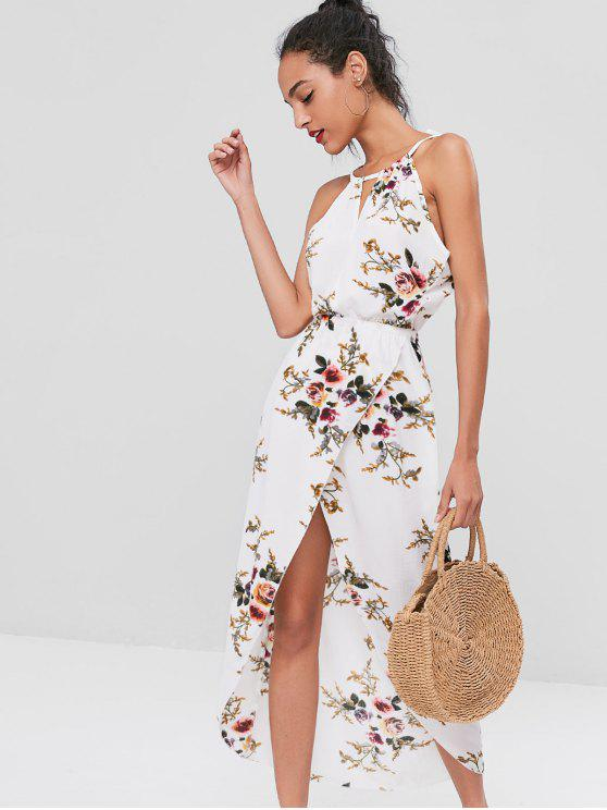 hot Cut Out Floral Overlap Dress - WHITE L