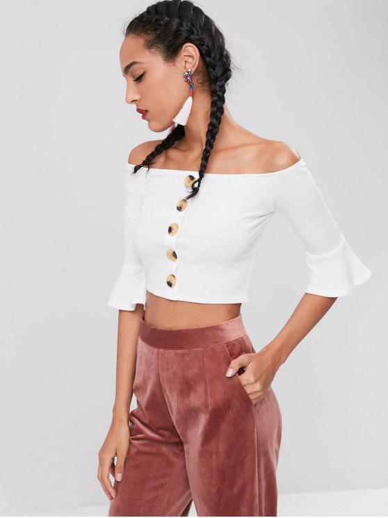 T-Shirt Court avec Boutons et à Épaules Dénudées - Blanc 2XL