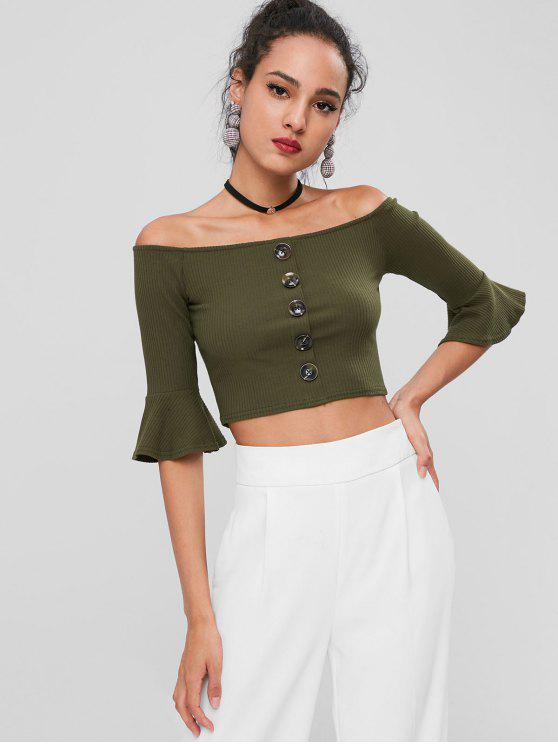latest Off Shoulder Buttons Crop Tee - ARMY GREEN M