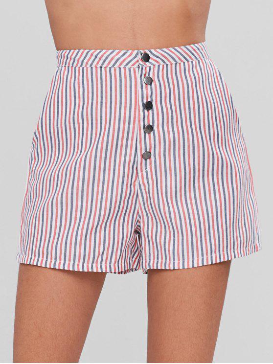 Knoten Knopf Gestreifte Shorts - Multi S