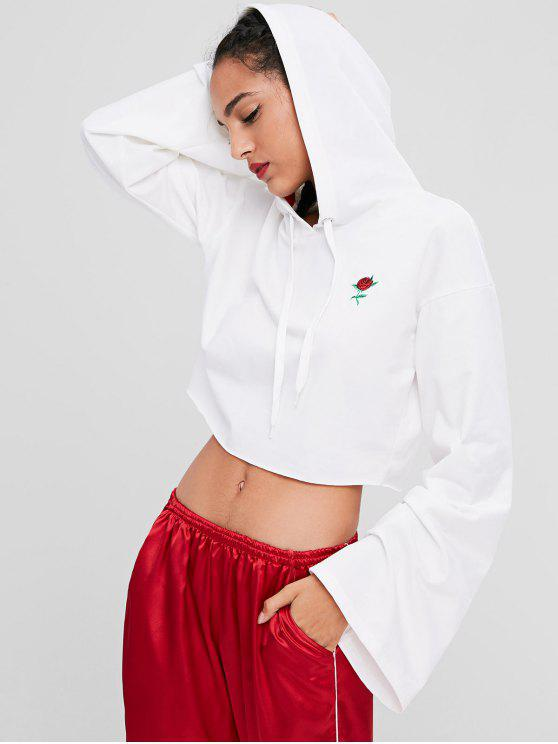 affordable Floral Embroidered Crop Hoodie - WHITE S