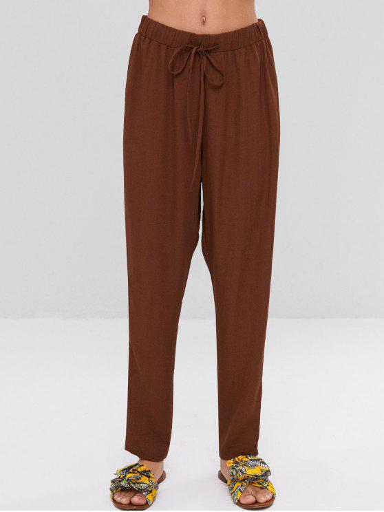 ladies High Waisted Drawstring Pants - BROWN S