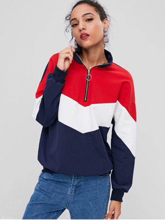 affordable Zip Front Color Block Sweatshirt - MULTI S