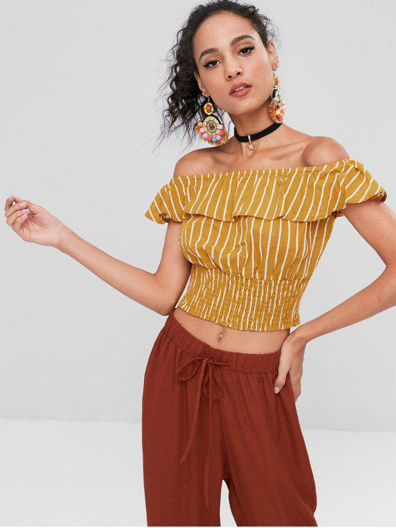 outfit Stripes Ruffles Off Shoulder Top - BEE YELLOW L