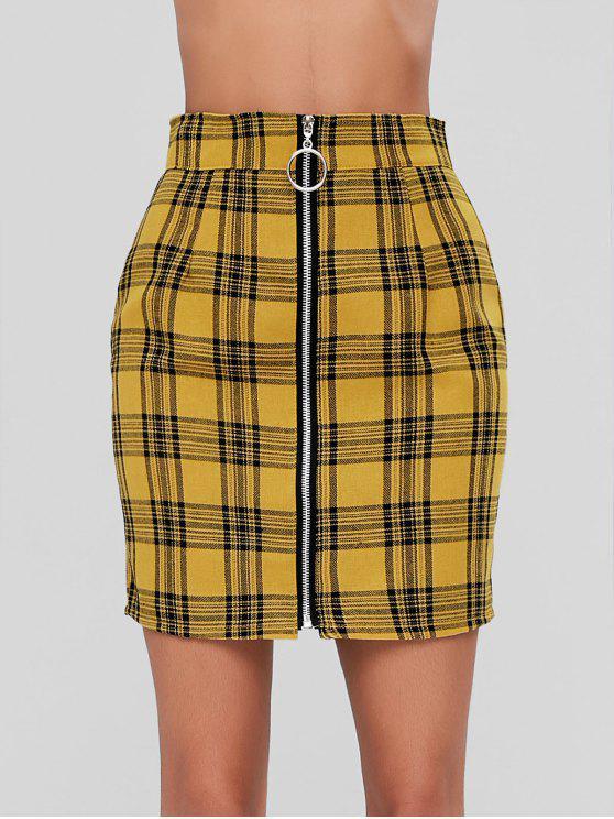 fancy Zip Front Mini Plaid Skirt - MUSTARD M