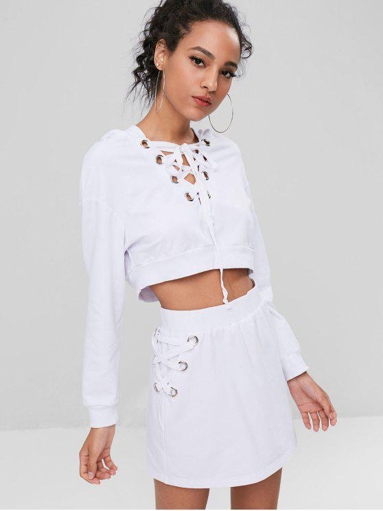 buy Lace Up Hoodie and Skirt Set - WHITE L