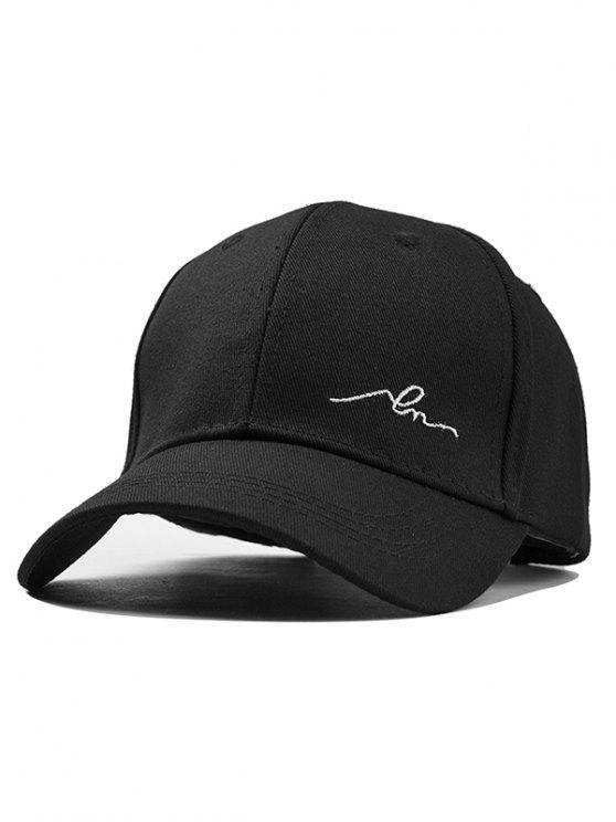 chic Simple Embroidery Adjustable Snapback Hat - BLACK