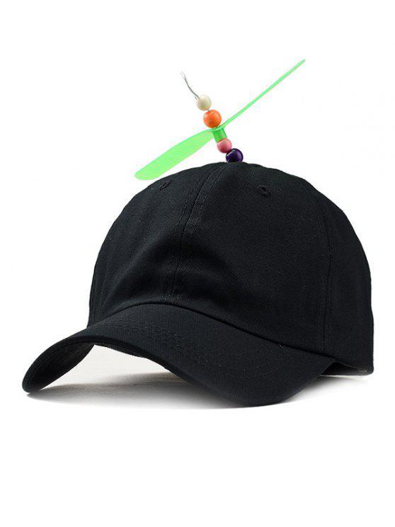 Cappello Da Baseball Decorato Con Elica Libellula - Nero