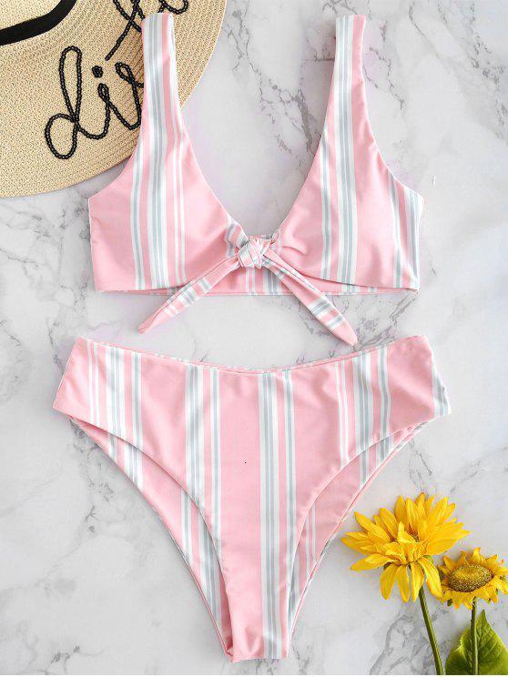 Conjunto de bikini de rayas delanteras de lazo alto - Rosa Claro M