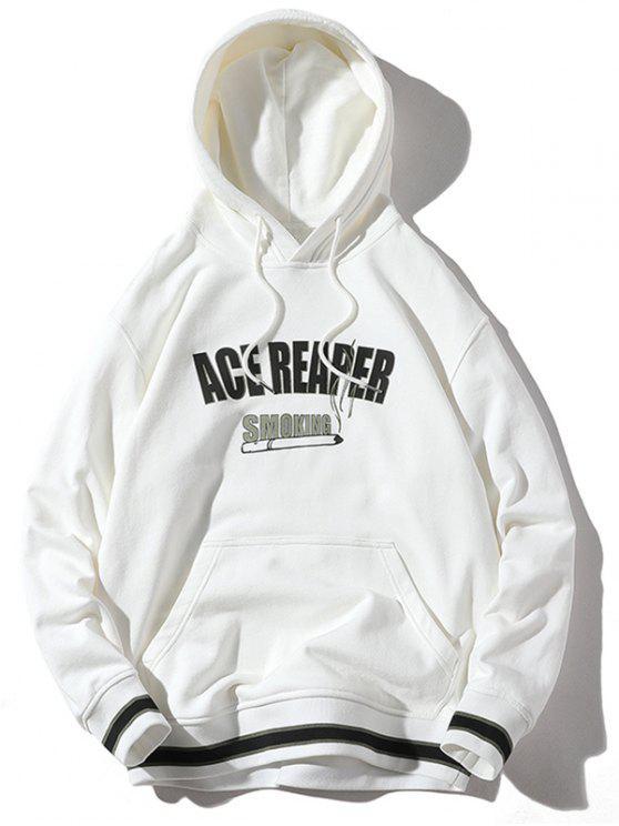 Streifensaum-Buchstabe-Druck-PulloverHoodie - Weiß XL